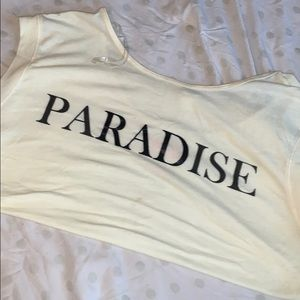 "Crop Top: Yellow with ""Paradise"" on front"